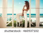 sexy young woman in white... | Shutterstock . vector #460537102