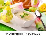 traditional white borscht  on easter table - stock photo