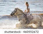 Pretty Girl Riding Horse In...