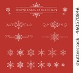 set of snowflakes on red... | Shutterstock .eps vector #460570846