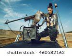 young woman warrior in brutal... | Shutterstock . vector #460582162