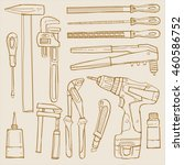 sketch illustration tools for... | Shutterstock .eps vector #460586752