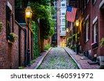 acorn street  in beacon hill ... | Shutterstock . vector #460591972