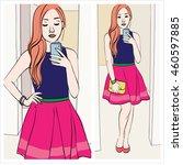ginger blogger  beautiful girl...   Shutterstock .eps vector #460597885
