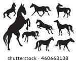 set of horses silhouettes   Shutterstock .eps vector #460663138