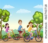 cute boy and girls riding his... | Shutterstock .eps vector #460743718