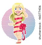 sexy blonde woman wrapped in a... | Shutterstock .eps vector #46077406