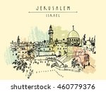 jerusalem  israel. city skyline.... | Shutterstock .eps vector #460779376