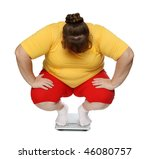 overweight women sitting on scales isolated on white - stock photo