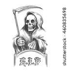 death with a scythe on the... | Shutterstock .eps vector #460835698