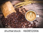Cup Of Hot Latte Art Coffee An...