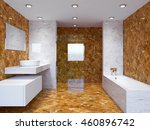3d rendering modern bathroom in ... | Shutterstock . vector #460896742