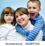 happy mother with two small... | Shutterstock . vector #46089763