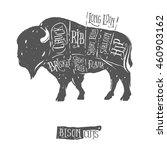 vintage butcher cuts of bison...   Shutterstock . vector #460903162