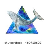 watercolor whale in space... | Shutterstock . vector #460910602