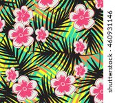 tropical flower pattern | Shutterstock .eps vector #460931146