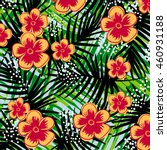 tropical flower pattern | Shutterstock .eps vector #460931188