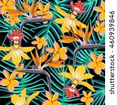 tropical flower pattern | Shutterstock .eps vector #460939846
