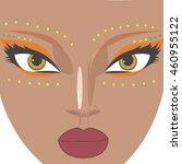 beautiful cartoon woman with... | Shutterstock .eps vector #460955122