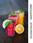 fresh fruit smoothies. assorted ... | Shutterstock . vector #460993288