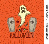 halloween card with hand drawn... | Shutterstock .eps vector #460995586