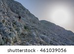 female hiker at the top of the... | Shutterstock . vector #461039056