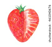 strawberry  one half full  the... | Shutterstock . vector #461040676