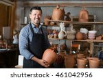 senior happy craftsman with... | Shutterstock . vector #461042956