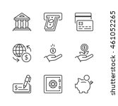 banking icons set  thin line ... | Shutterstock .eps vector #461052265