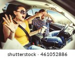 couple driving in the car | Shutterstock . vector #461052886