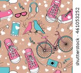 cute teenager girls pattern... | Shutterstock . vector #461053252
