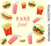 colorful fast food pattern.... | Shutterstock . vector #461079916