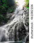 Small photo of Amazing beautiful waterfalls in tropical forest at Sarika Waterfall in Nakhonnayok, Thailand.Has fair lighting