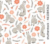 seamless pattern with rabbits... | Shutterstock . vector #461084362