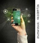 caucasian hand in business suit ... | Shutterstock . vector #461089726