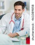 doctor writing a prescription... | Shutterstock . vector #461089858