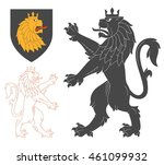 black lion illustration for... | Shutterstock .eps vector #461099932