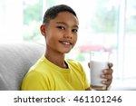 african american boy drinking...   Shutterstock . vector #461101246