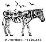 vector double exposure.  zebra... | Shutterstock .eps vector #461101666