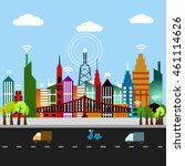 wireless signal of internet in... | Shutterstock .eps vector #461114626