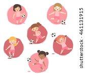 set of football girls team pink ... | Shutterstock .eps vector #461131915