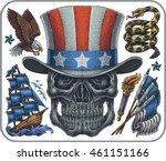 hand drawn set of old school... | Shutterstock .eps vector #461151166