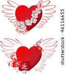 red hearts with floral ornament ... | Shutterstock .eps vector #46116655