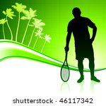 tennis player on tropical... | Shutterstock .eps vector #46117342