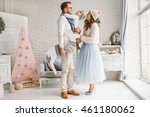 happy young father  mother and...   Shutterstock . vector #461180062