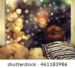 little boy waiting for santa... | Shutterstock . vector #461183986