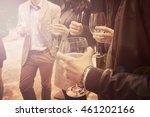people drinking wine vintage... | Shutterstock . vector #461202166