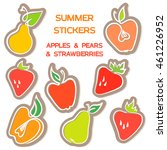 summer set stickers with apples ... | Shutterstock .eps vector #461226952