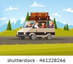family trip. father  mother and ... | Shutterstock .eps vector #461228266