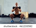 squats with kettlebells... | Shutterstock . vector #461233582